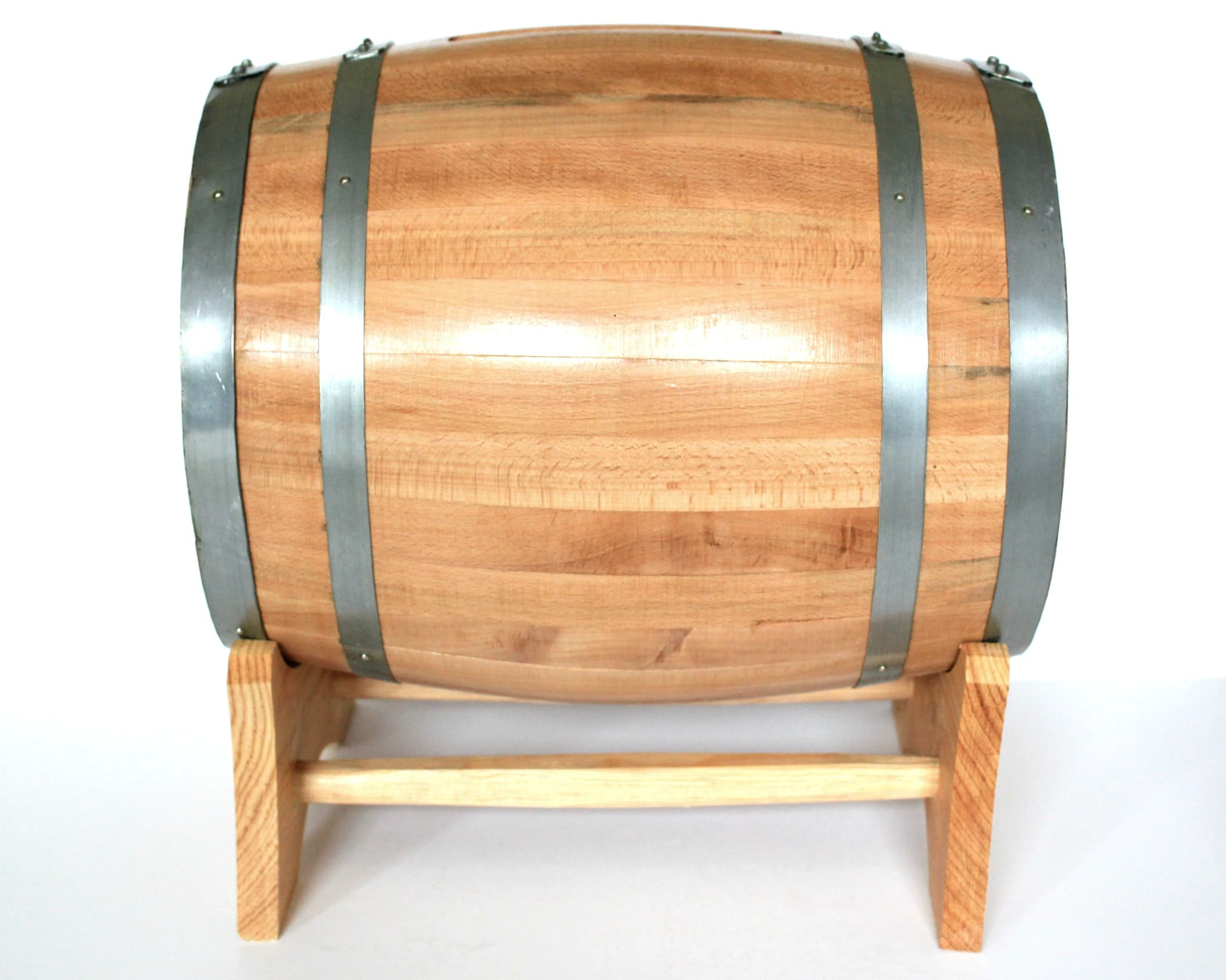 Side view of Wine Barrel Card Holder and Stand