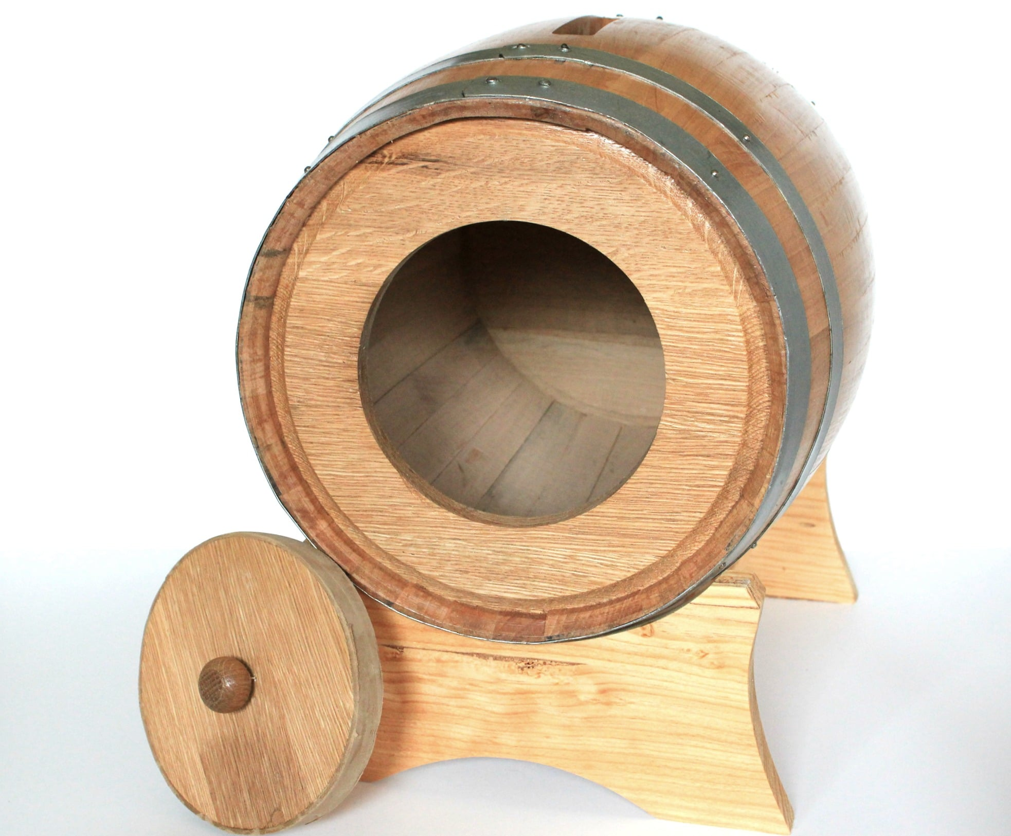 Trap door in back of card holder barrel for removing cards and envelopes