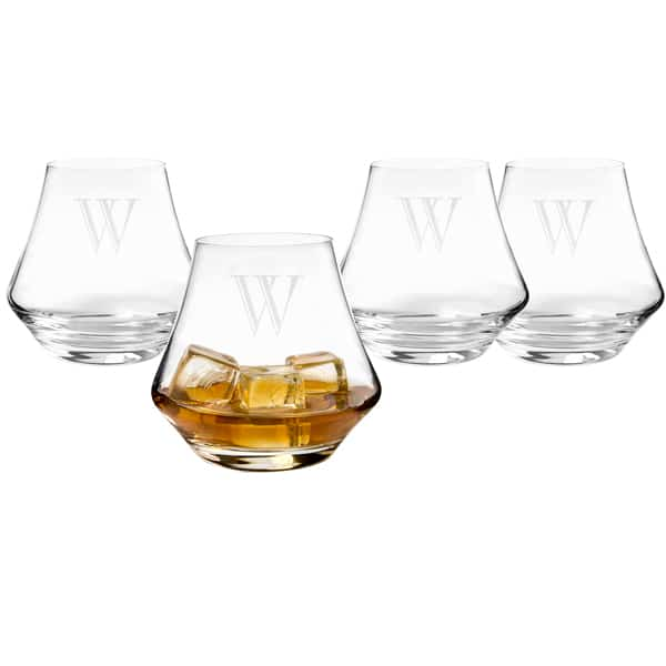 Personalized Contemporary Whiskey Glasses with Optional Chilling Soapstones