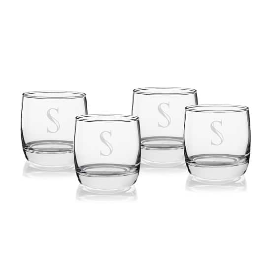 Each 1116-4 set features 4 whiskey glasses that are custom engraved for your groomsmen or bridesmaids.