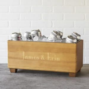 Personalized Wooden Party Beverage Trough Full of Beer