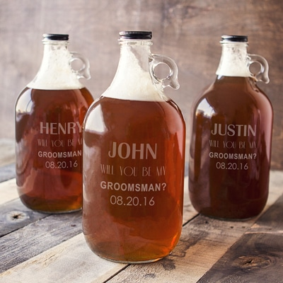 Personalized growlers for proposing to your best man and groomsmen