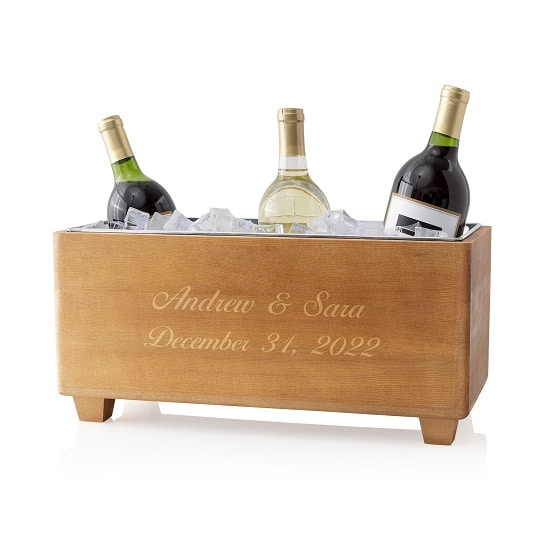 Wine trough engraved for a rehearsal dinner or a wedding reception