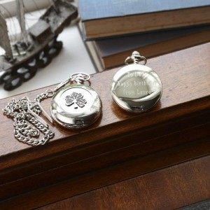 Personalized Irish Mullingar Pewter Shamrock Pocket Watch