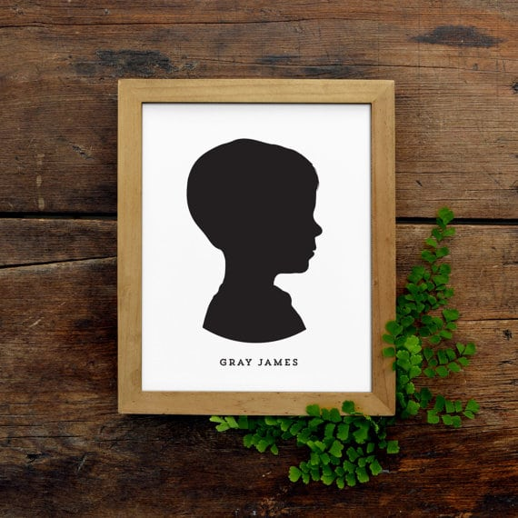 This personalized silhouette portrait makes an excellent Mother's Day gift