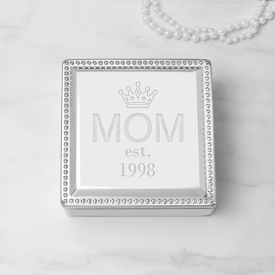 Engraved with the word MOM and the year of your choice