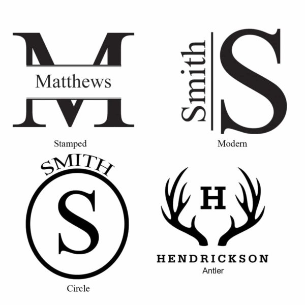 Monogram styles for the Black Matte Groomsman Growler