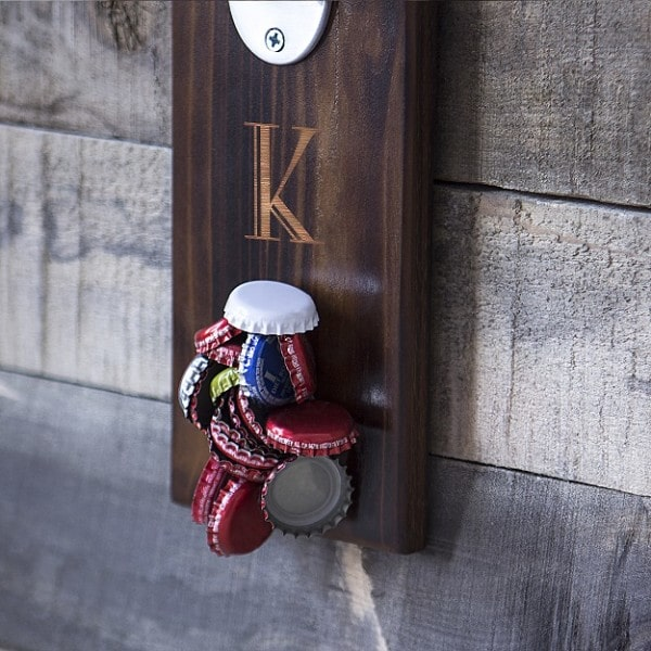 Personalized Rustic Magnetic Cap Catcher Bottle Opener