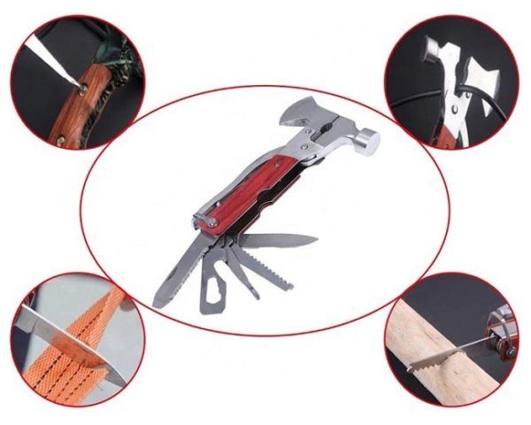 Multiple uses for the Axe Hammer Multi-Tool include screwdriver, knife blade and wire cutting.
