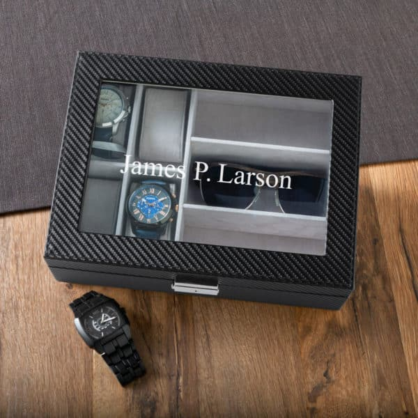 "Perfect for the stylish crew, this sharp 10""x8"" carbon fiber-inspired watch and sunglasses case will help keep his accessories handy, organized and safe from scratches."