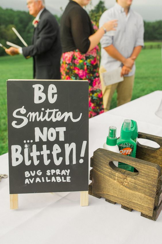 bug spray station at wedding