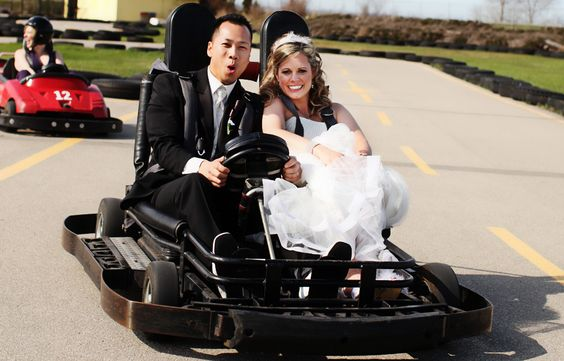 bride and groom go karting