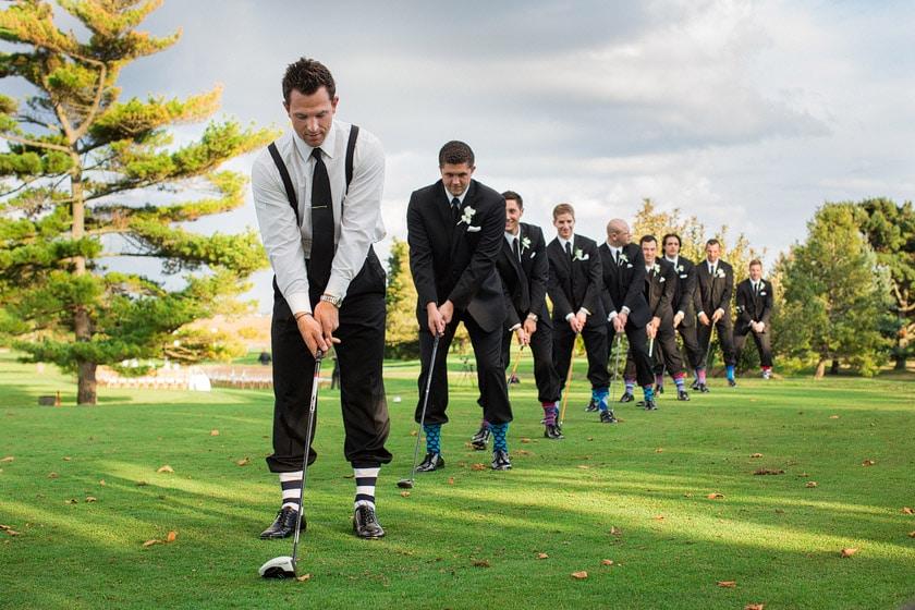 groomsmen golfing in their new socks