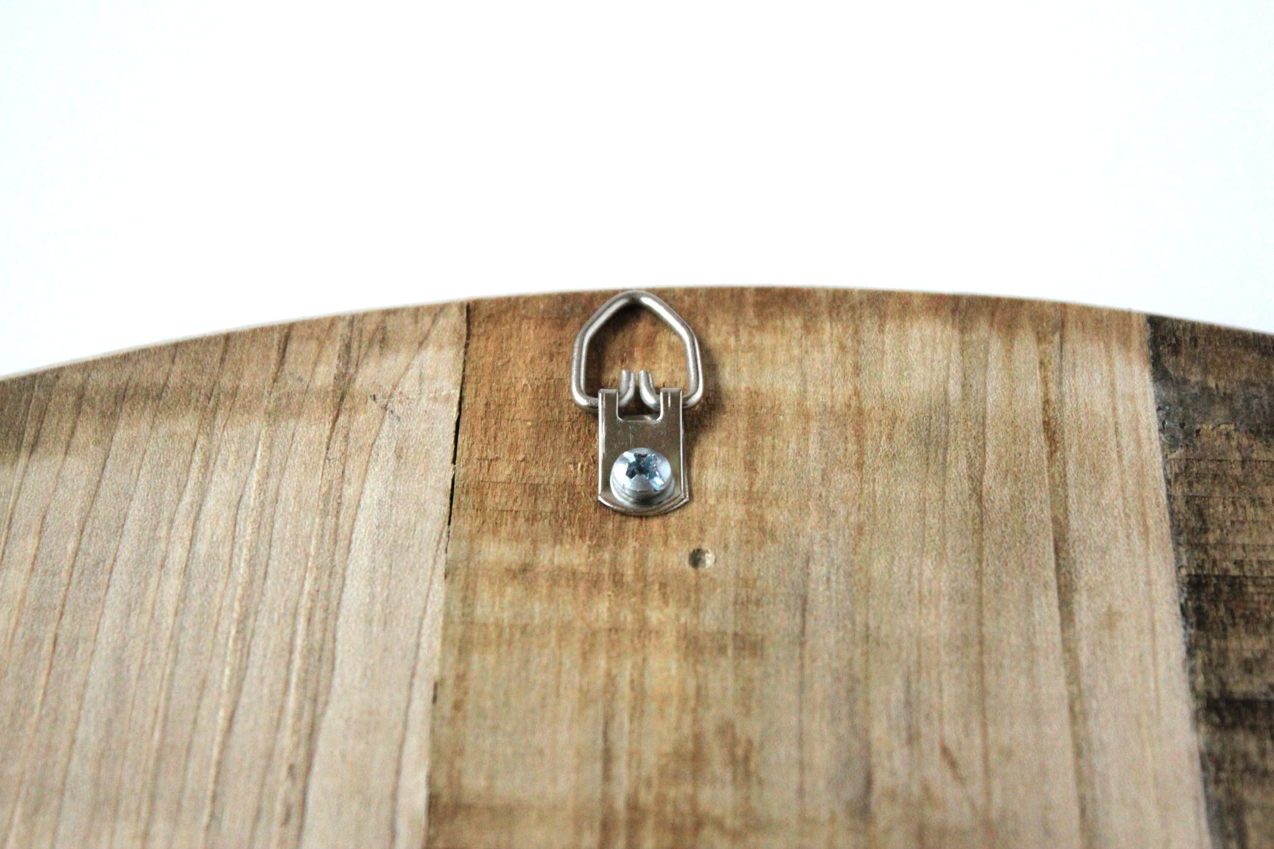 Back of wine holder shows hanging hook