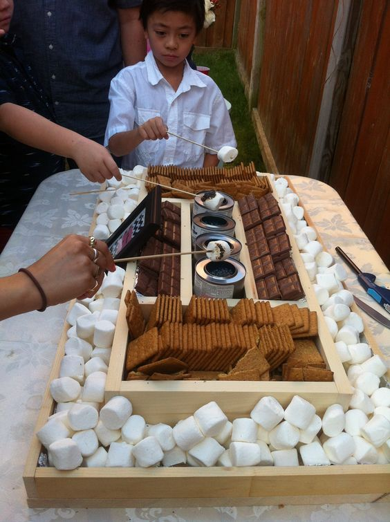 self-serve smores station for the reception