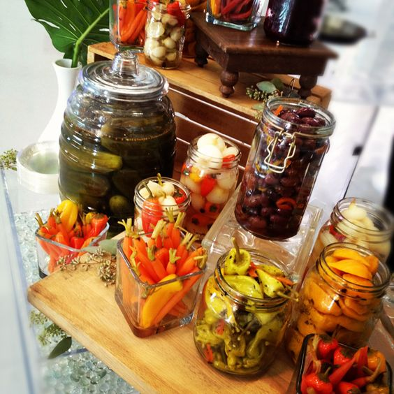 gourmet pickle bar for the wedding reception