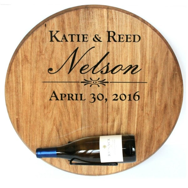 Barrel Head Wedding Wine Bottle Holder