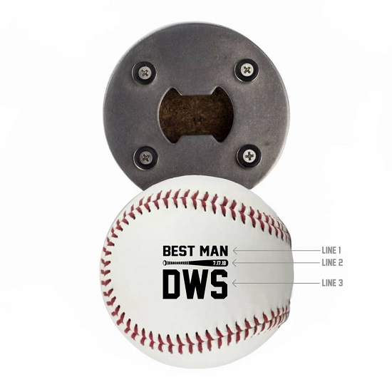 Baseball Bottle Opener - Bat Date Design