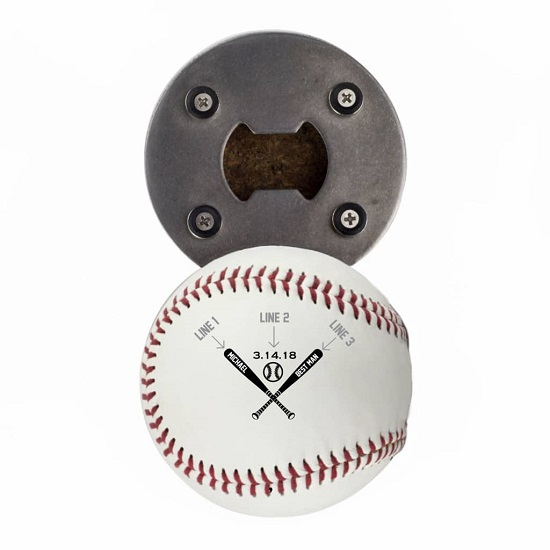 Baseball Bottle Opener - Crossed Bats Design