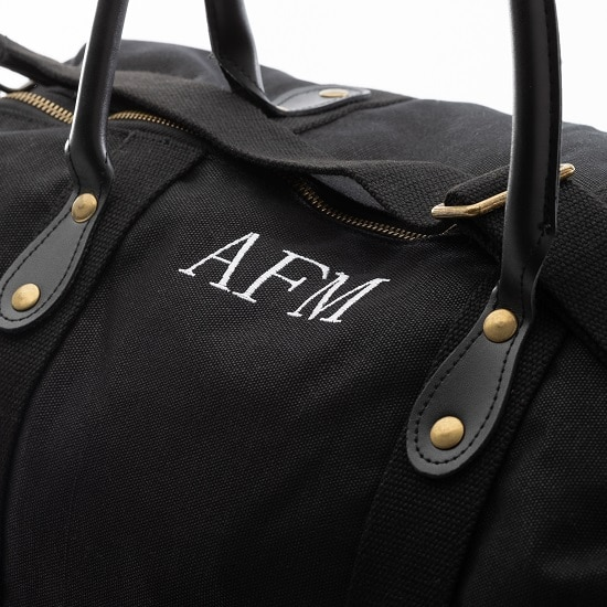 Black canvas & leather duffle bag embroidered for your best man and groomsmen