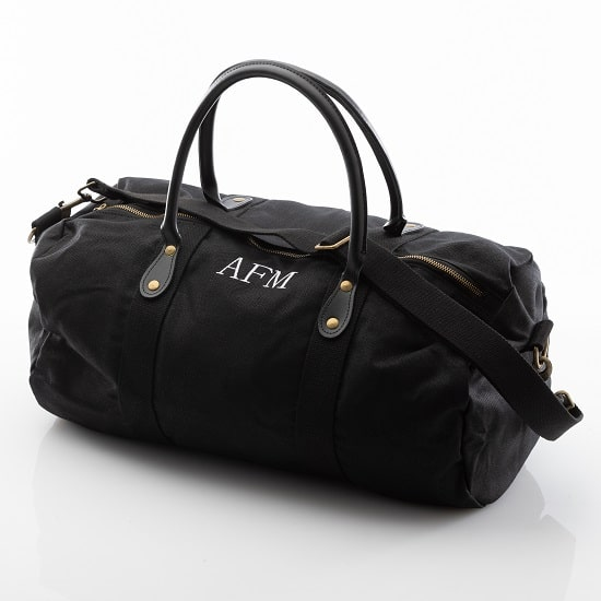 Personalized Black Canvas & Leather Duffle Bag