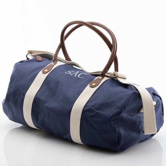 Personalized Blue Canvas & Leather Duffle Bag