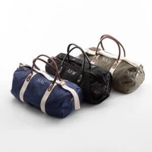 Personalized Canvas & Leather Duffle Bag Groomsmen Gifts