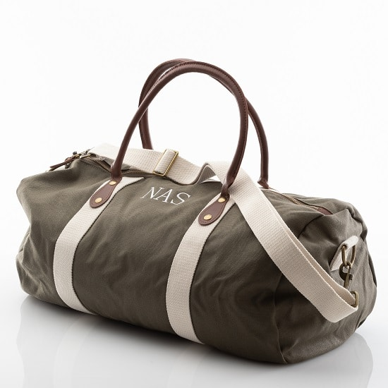 Personalized Green Canvas & Leather Duffle Bag