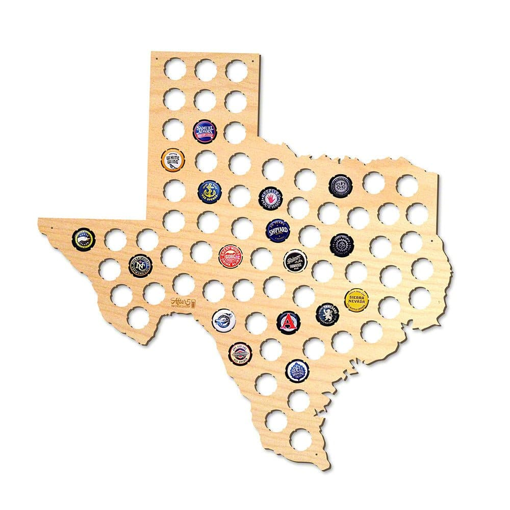 Local drinkers will go crazy for this home state beer cap map, which proudly houses bottle caps from favorite craft beers made in your state.