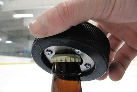 Toast the champions and legends of professional hockey with the famous PuckOpener