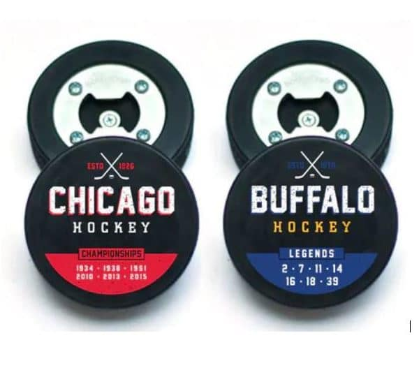 """""""Champs & Legends"""" Hockey City Puck Bottle Openers"""