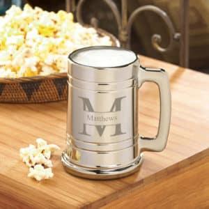 Monogrammed Metallic Beer Mug