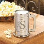 The metallic monogram mug is great for drinking with the groomsmen during the bachelor party.