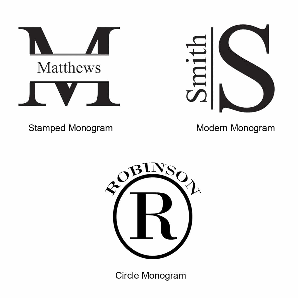Choose from one of these three monogram styles for the Metallic Beer Mug
