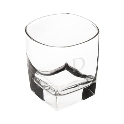 The rocks glasses are a traditional squared shape.