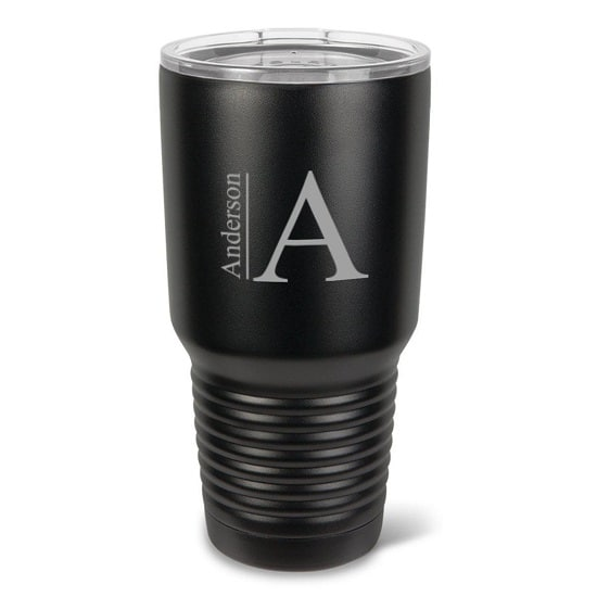 GC1524 Black Tumbler - Modern Monogram Design