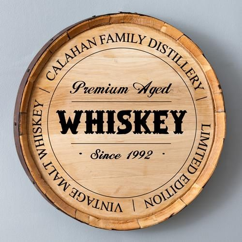 Whiskey lovers will be blown away with this heavy-duty sign crafted from the face of a full-size oak whiskey barrel.