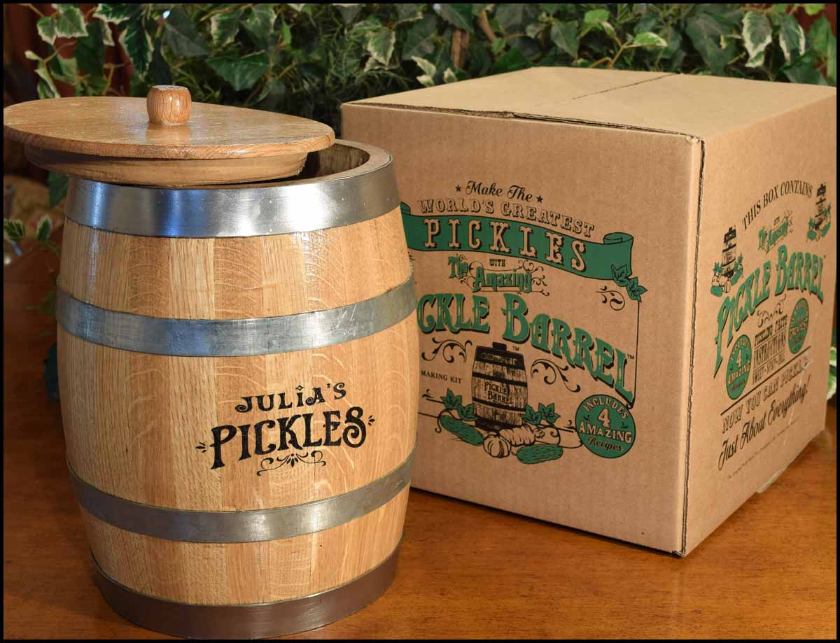 The barrel arrives in Amazing Pickle Barrel gift packaging.