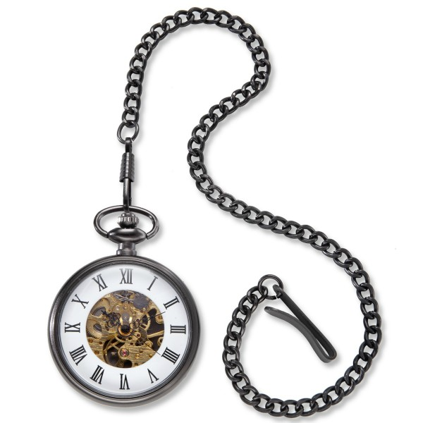Personalized Gunmetal Gray Pocket Watch with Exposed Gears