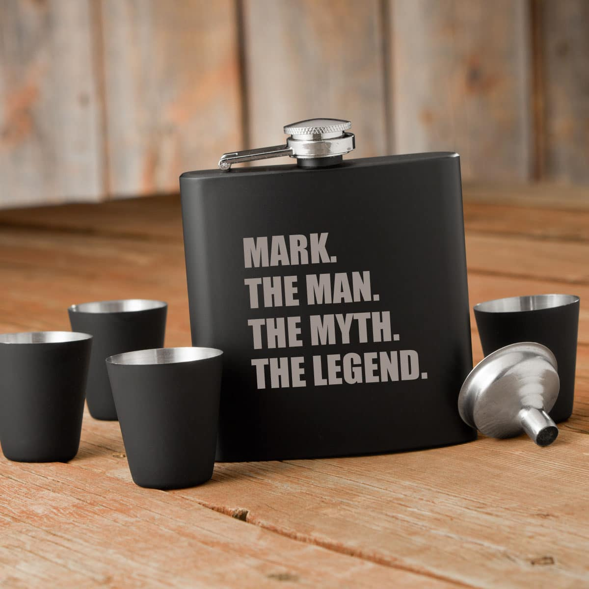 Black matte version of this hilarious flask.
