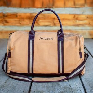 Personalized Trappers Supply Khaki Canvas Duffle Bag for Groomsmen