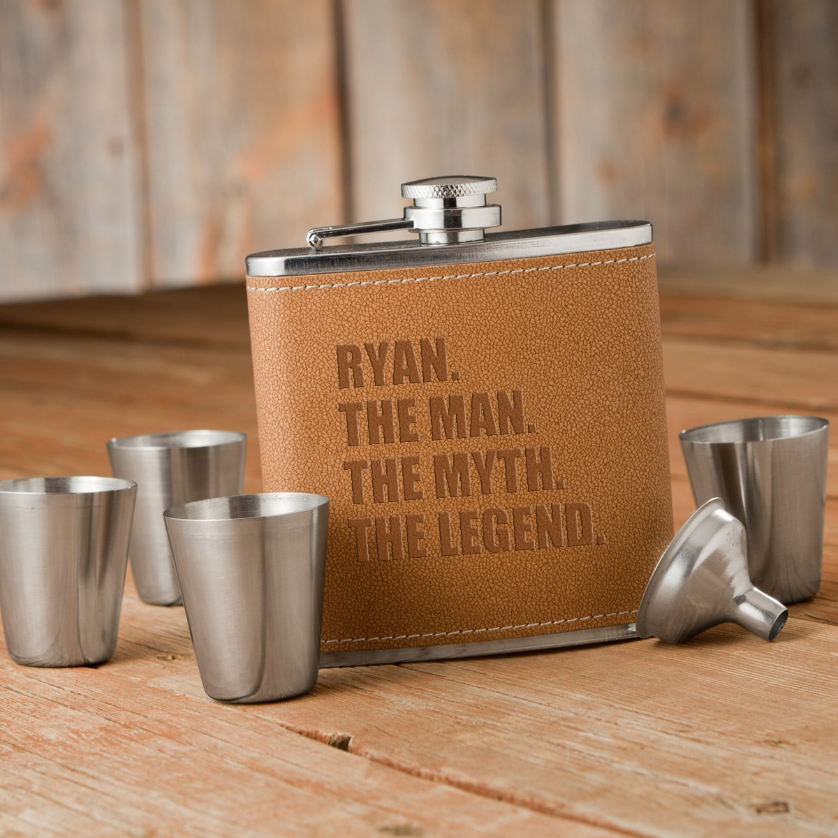 The Man. The Myth. The Legend. Personalized Flask & Shot Glass Set