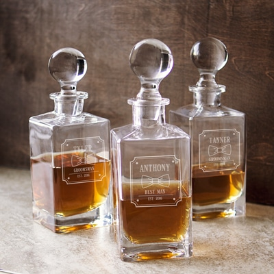 Customize a bow tie decanter for your groomsmen, best man and ushers!
