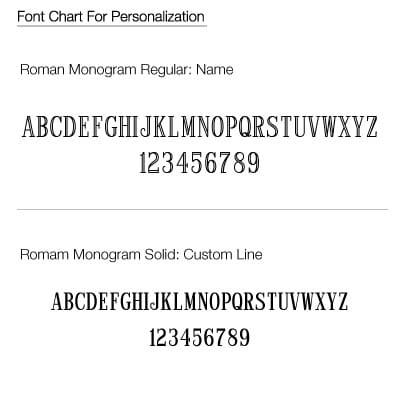 Engraving is free and we'll use this font chart.
