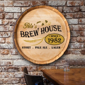 Personalized Barrel Top Signs for Home Bar