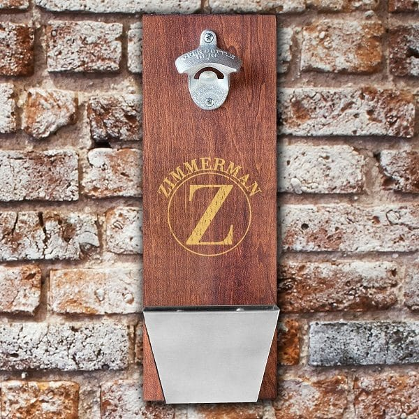 Personalized Groomsmen Wall-Mounted Cap Catcher Bottle Opener