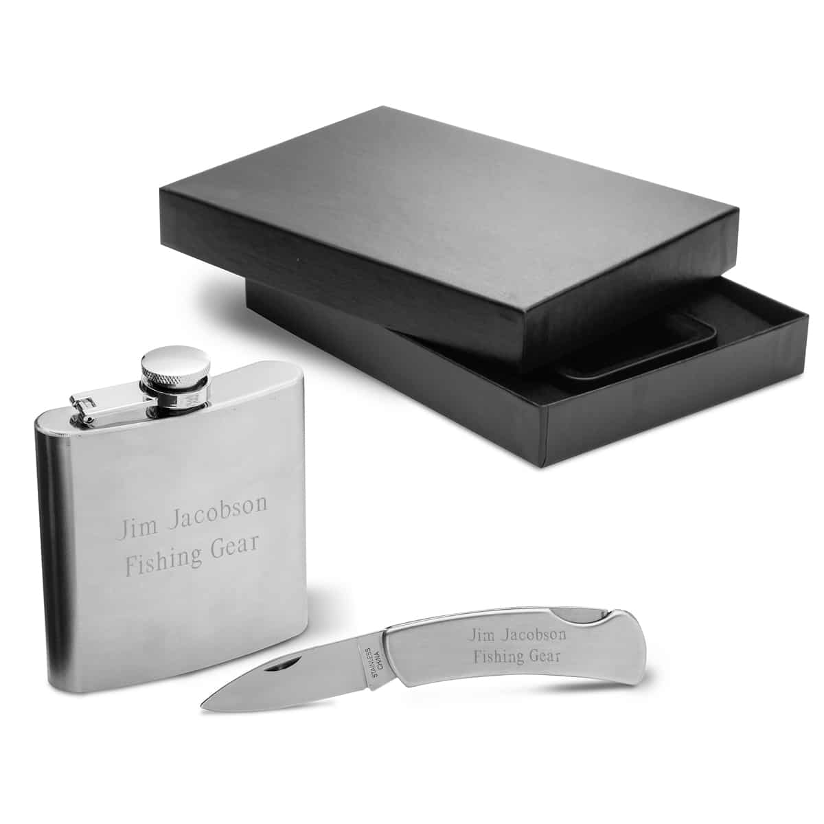 Personalized Stainless Steel Flask & Lock Back Knife Groomsman Gift Set
