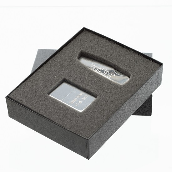 Personalized Pocket Knife & Lighter Groomsmen Gift Set
