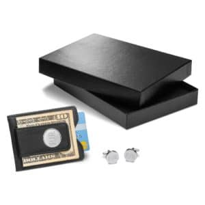 Personalized Black Leather Wallet and Cufflink Gift Set