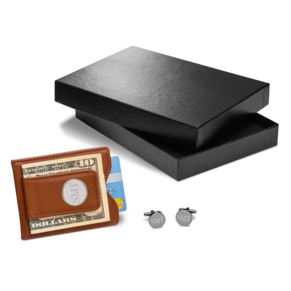 Personalized Brown Leather Wallet and Cufflink Gift Set